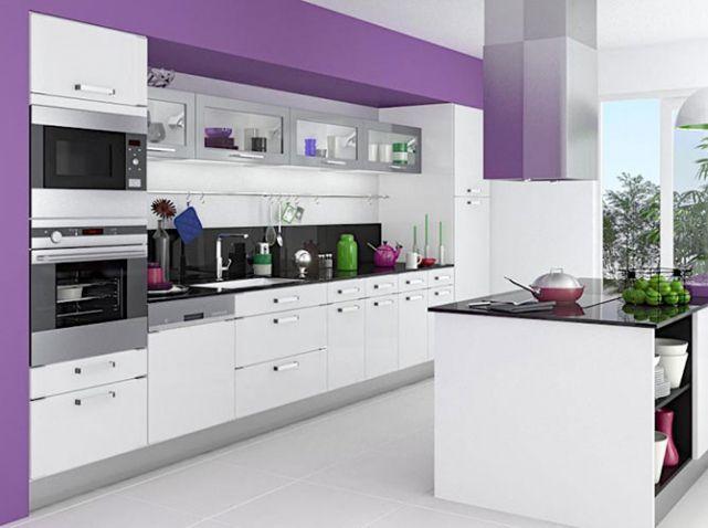 mettez de la couleur en cuisine deco pinterest meuble cuisine cuisine gris et mobilier de. Black Bedroom Furniture Sets. Home Design Ideas
