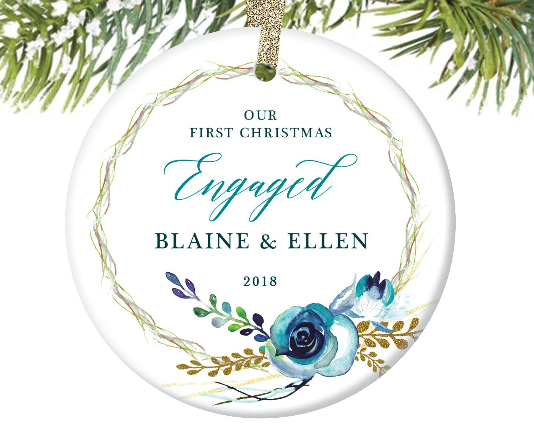 First christmas engaged ornament personalized digibuddha