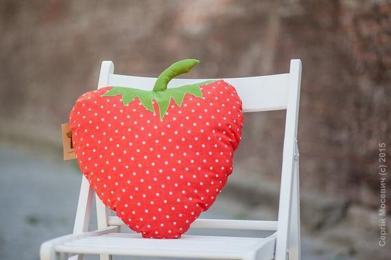 Strawberry pillow kids pillow fruit cushion funny pillow kid room decor kids cushion nursery decor b
