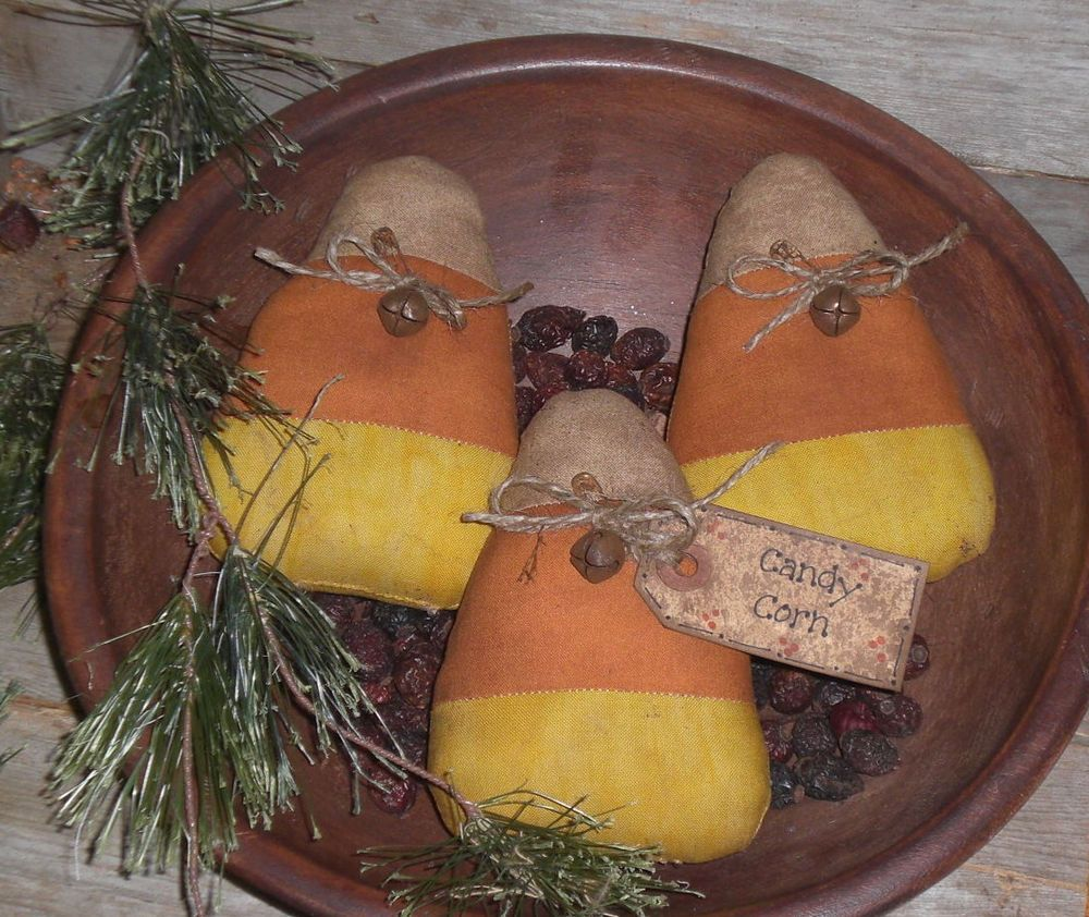 3 Primitive Halloween Candy Corn Ornies Bowl Fillers Ornaments ...