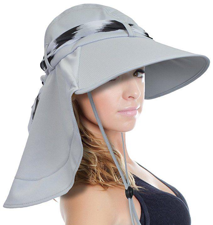 639a0eb744f57 Sun Blocker Women Large Brim UV Sun Protection Fishing Hat Neck Flap Hat  Silver at Amazon Women s Clothing store
