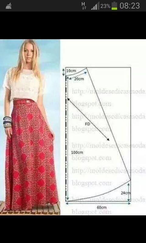 uzun etek salaş model kalıp | Elaboracion de costura | Pinterest ...