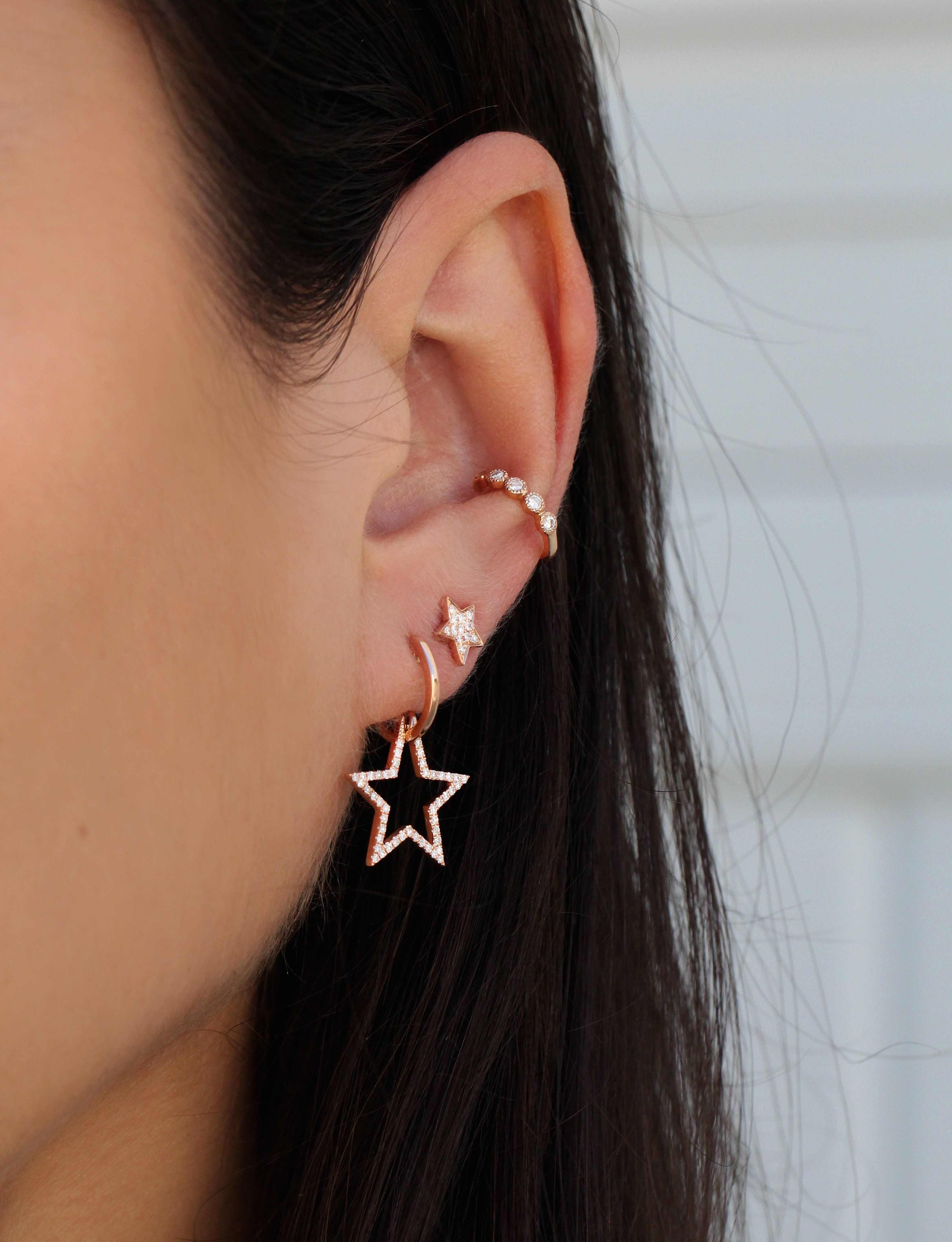 119a2141de6c9a 14kt gold and diamond star hoop earring *sold as a pair | Products ...