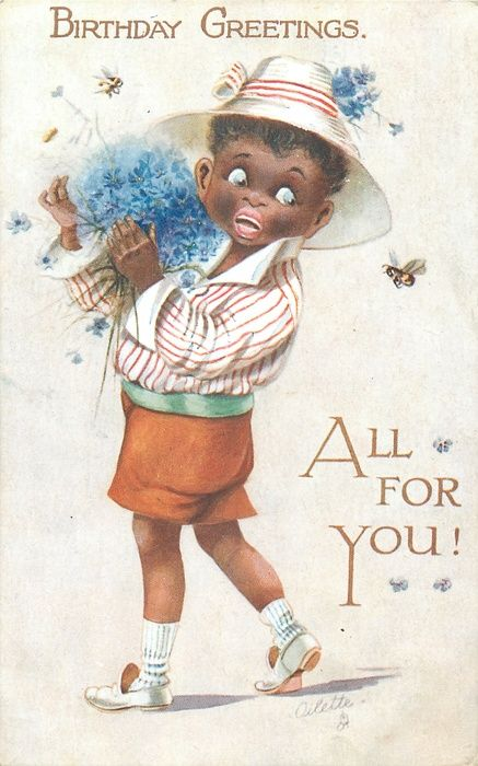 BIRTHDAY GREETINGS, ALL FOR YOU!  black boy carrying blue cornflowers frightened by a bee