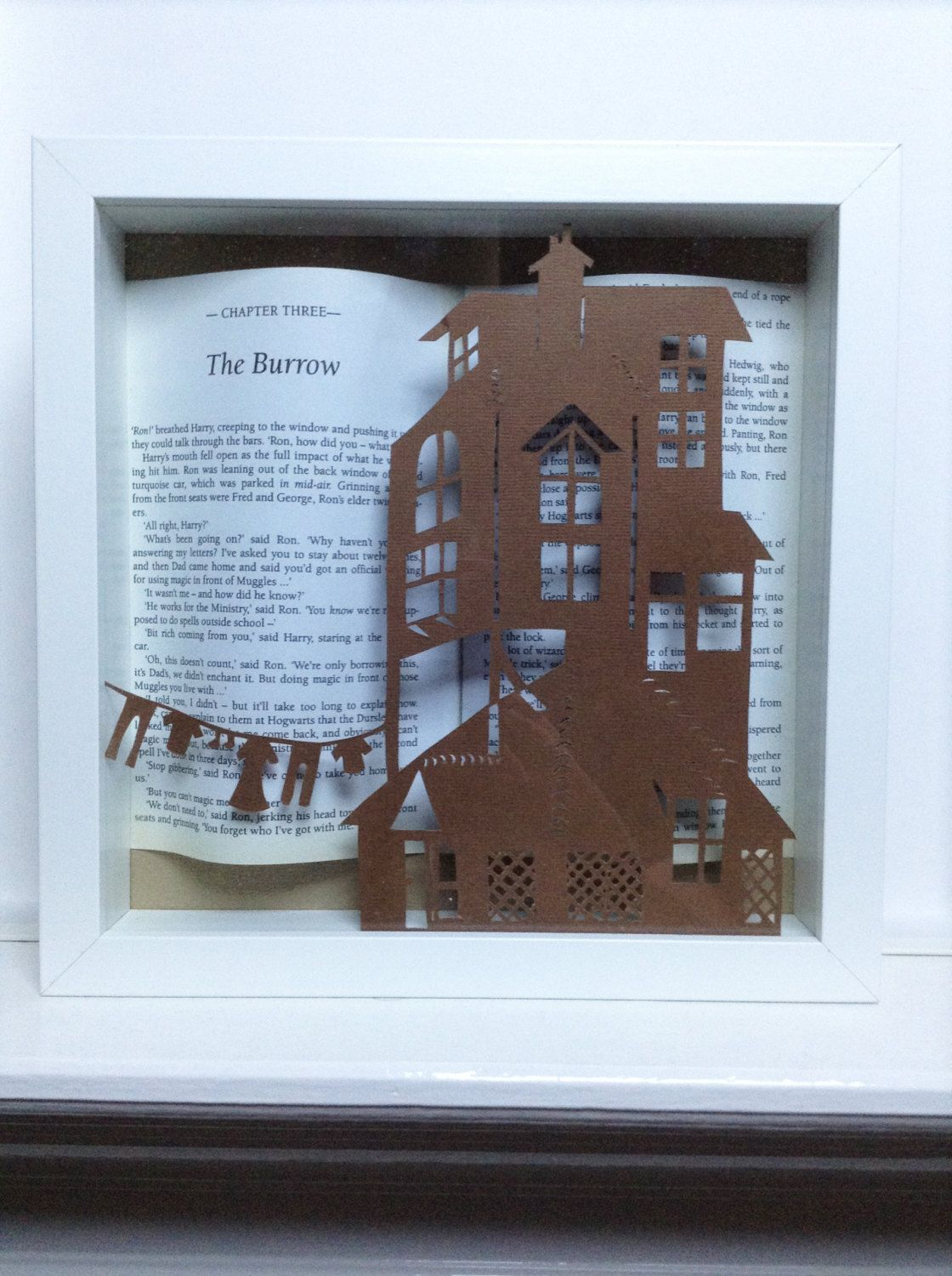 The Burrow - Harry Potter framed art paper cutting - Harry Potter ...