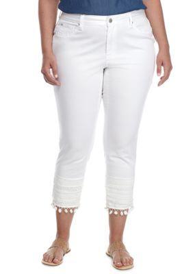 af262e71801 Crown Ivy White Plus Size Pom Lace Hem Crop Pant