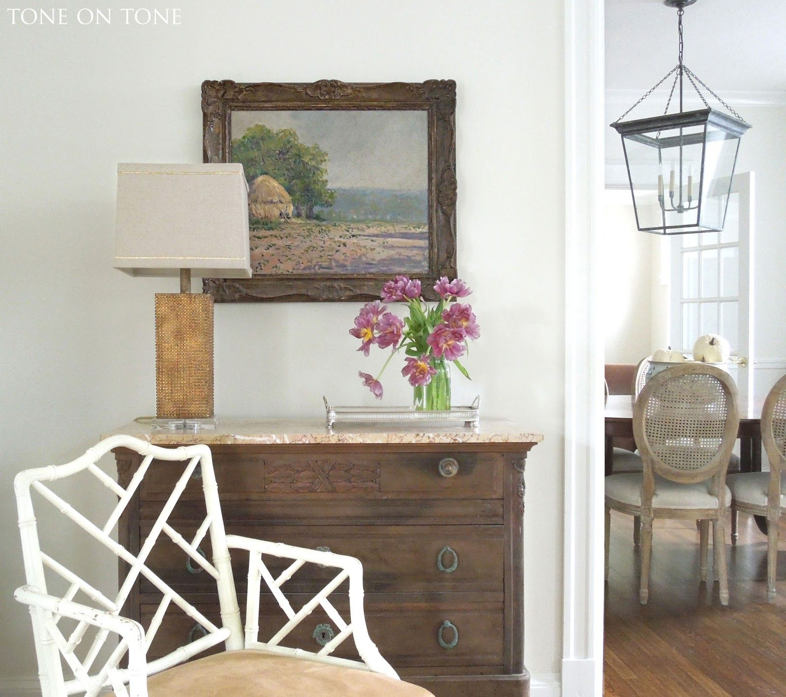 Dining Room Lantern From Circa Lighting Paint Color Swiss Coffee By Benjamin Moore