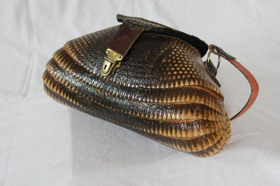 c60d0e73b8fc Vintage Armadillo Leather Purse Rare Animal Skin Purse 1970s Taxidermy Bag  Great Condition Made in USA