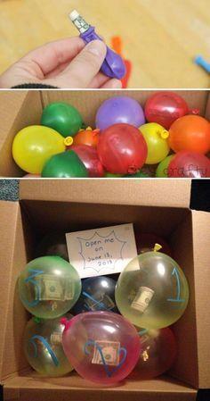 Photo of Füllen Sie eine stabile Schachtel mit leichten Luftballons, die mit Süßigkeiten, Bargeld usw. gefüllt sind. – Basteln Ideen