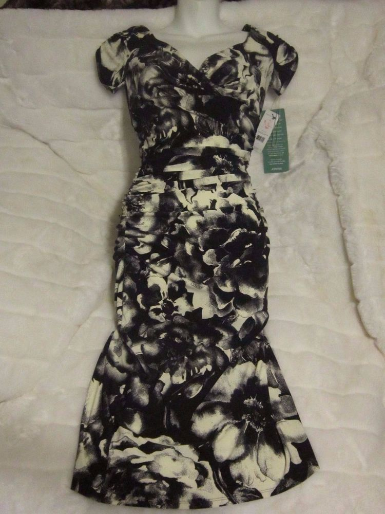 New With 90 Tags JCPenney American Living Black White Floral Dress Womens 2 AmericanLiving