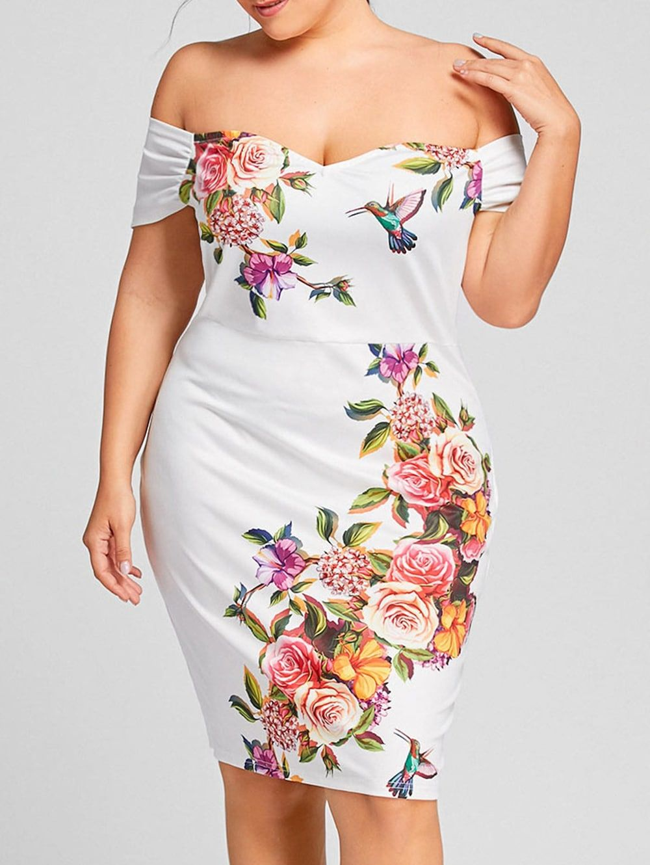 Off shoulder floral plus size formal tight dress formal shoulder