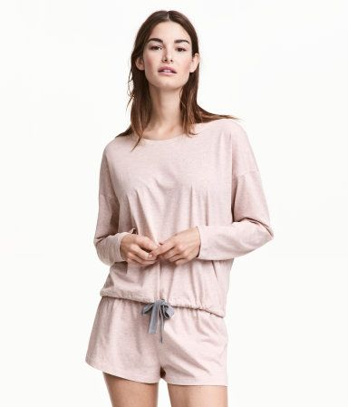 f18795df65 Pajama set in soft, cotton-blend jersey. Wide-cut top with dropped  shoulders, long sleeves, and drawstring at hem. Short shorts with