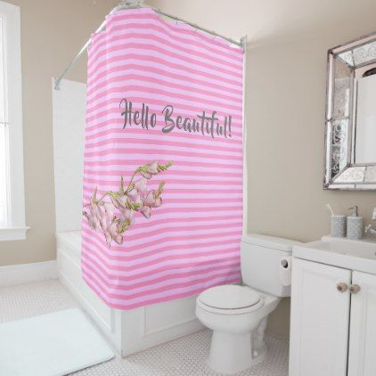 Cherry Blossoms Pink Strips Hello Beautiful Shower Curtain