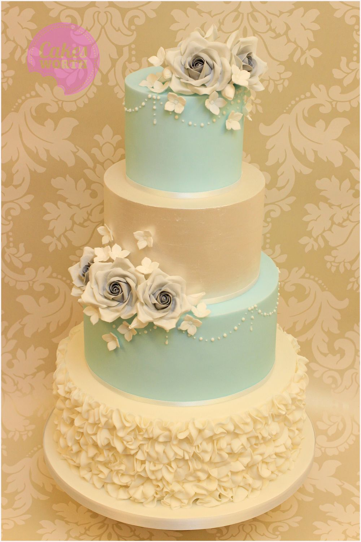 Cream and teal wedding cake inspiration | Wedding Cakes | Pinterest ...