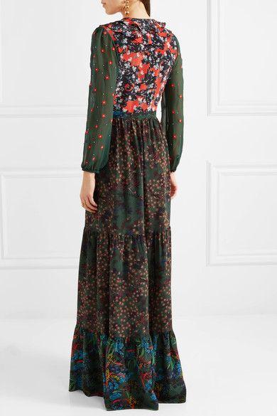Ginny Ruffled Printed Silk Crepe De Chine Maxi Dress - Dark green Saloni 2FDP5
