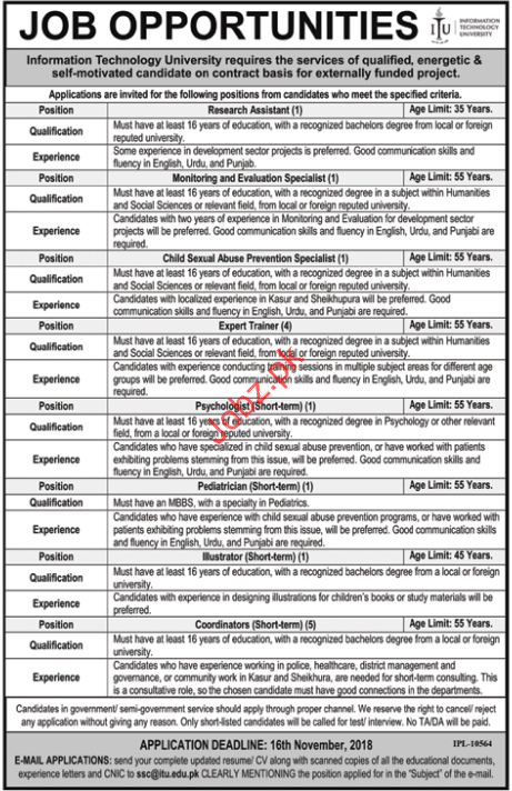 Islamabad Jobs Information Technology University Research