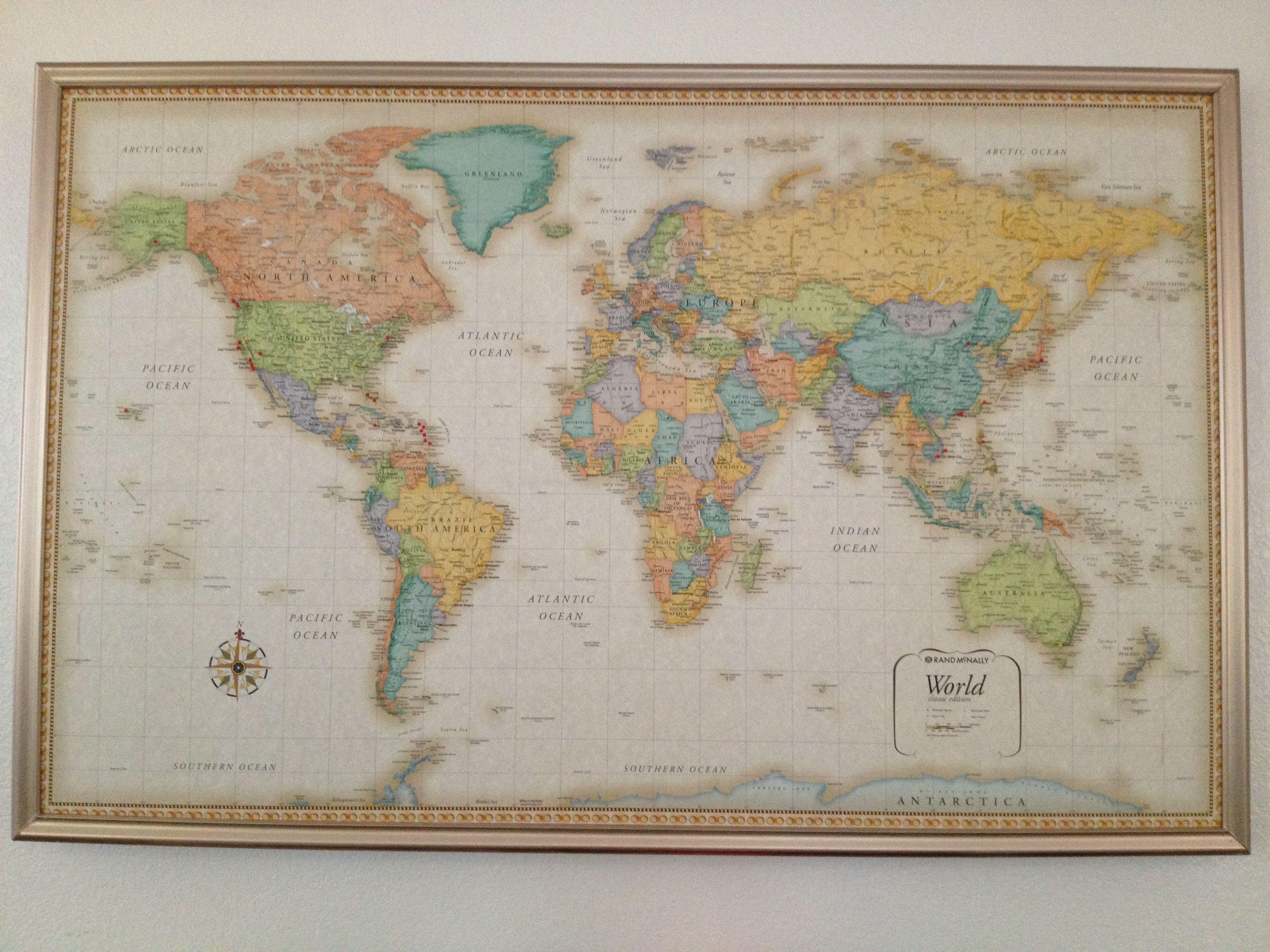 Diy Framed World Map With Pins Hamonious At