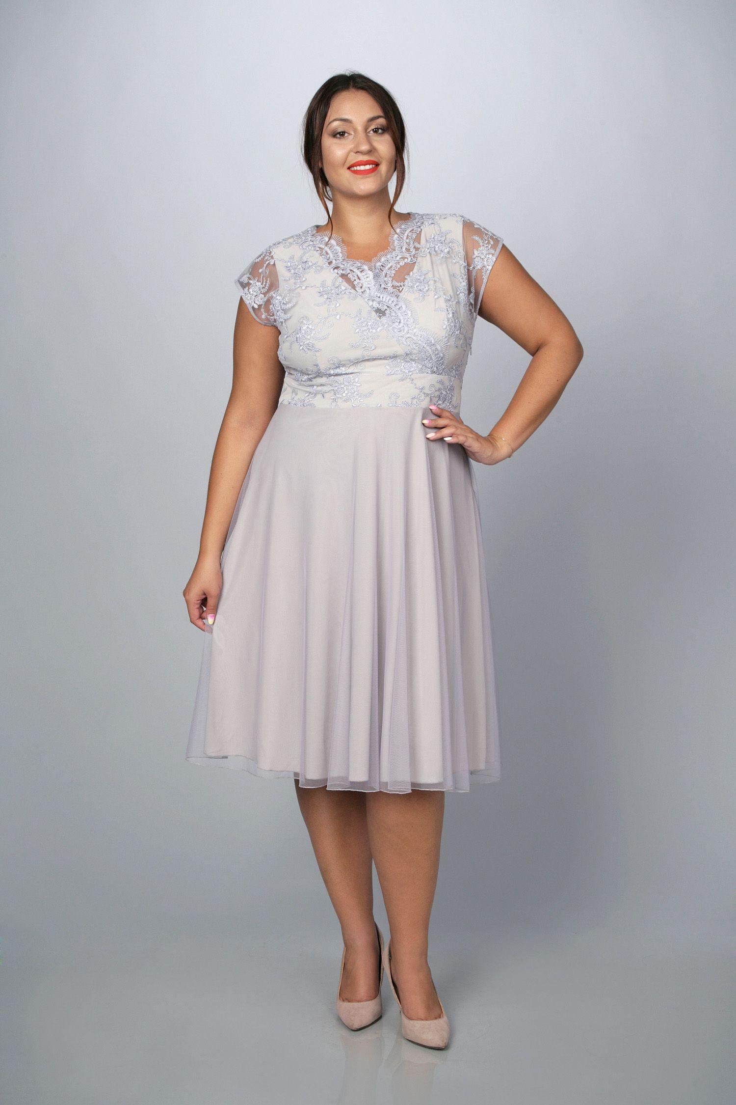 6fad552a62 Sukienka STELLA ekskluzywna rozkloszowana tiulowo-koronkowa popielata