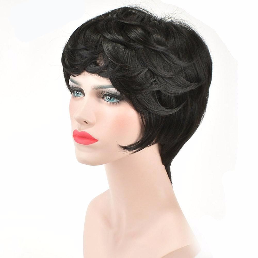 Cute short synthetic wigs with bangs for black women products