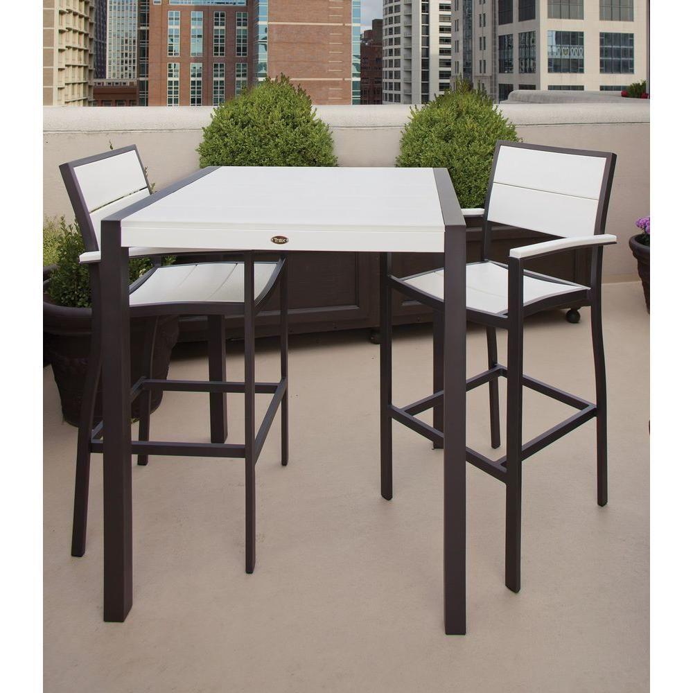3 piece patio bar set. Plain Set Trex Outdoor Furniture Surf City Textured Bronze 3Piece Patio Bar Set With  Classic White And 3 Piece I