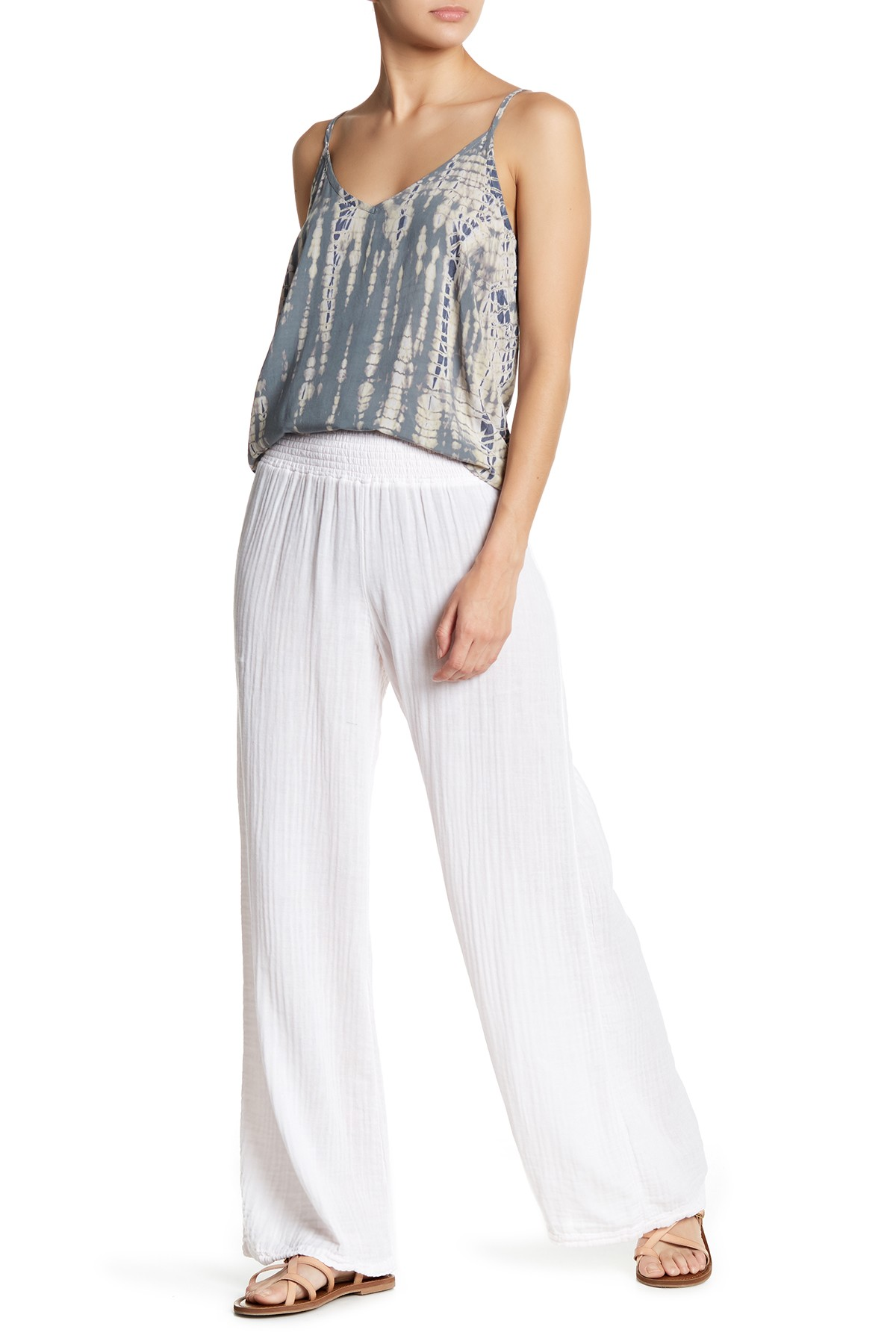 7a21bbb44fb8 Michael Stars | Wide Leg Smocked Pants | Products | White wide leg ...