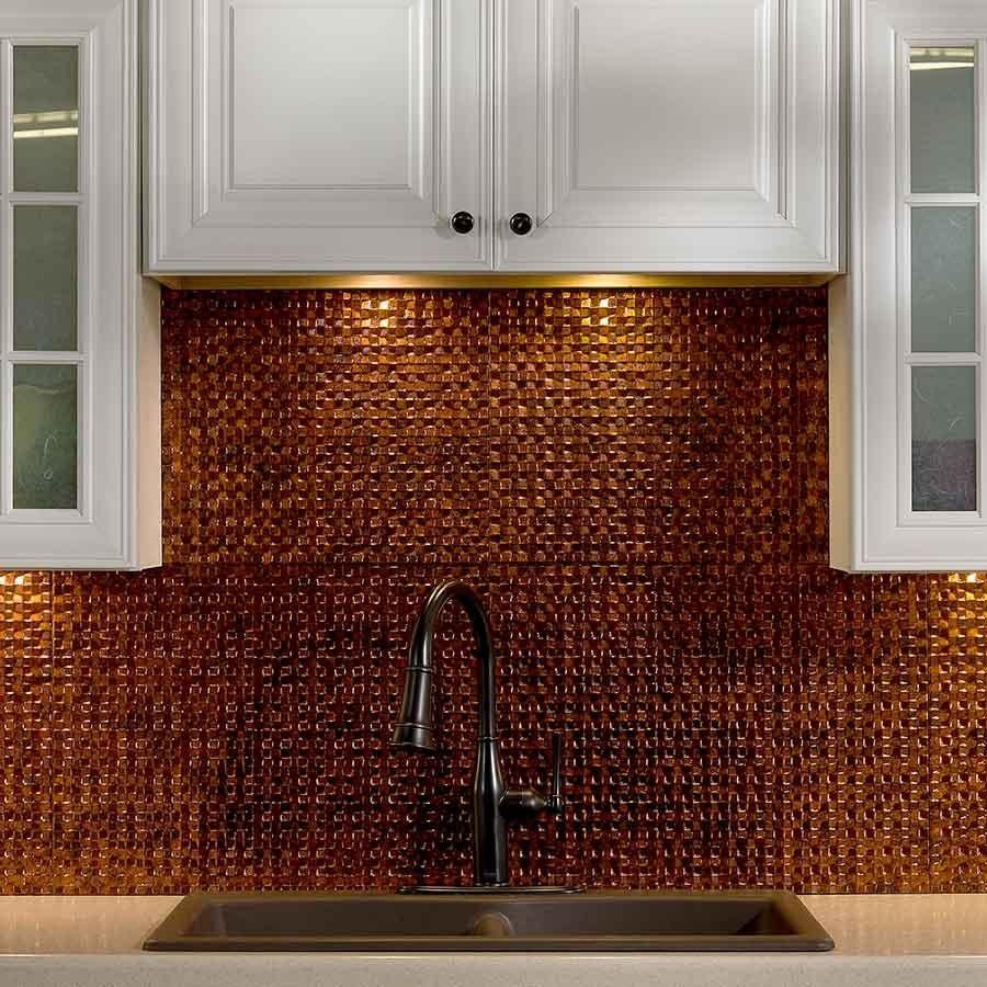 - Hammered Copper Tile Backsplash Bronze Kitchen Faucet, Copper