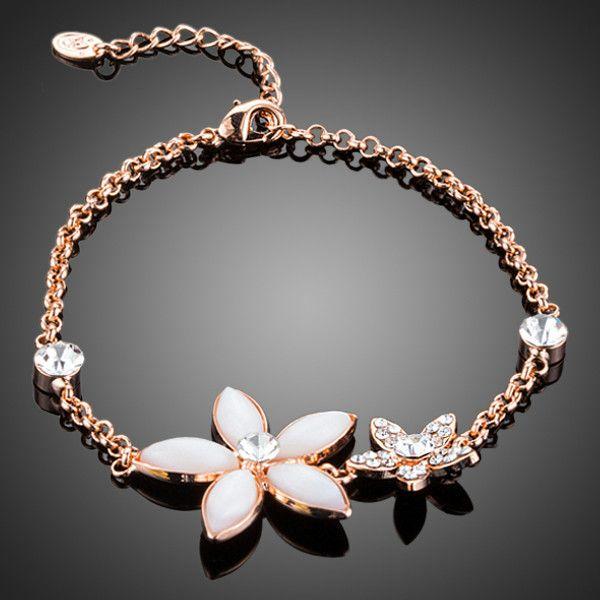 Rose Gold Plated Flower Charm Bracelet