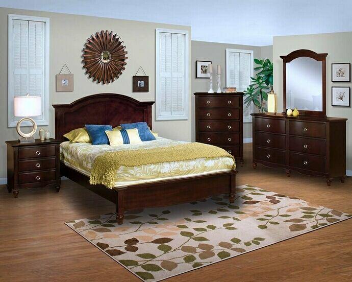 5 pc Victoria collection espresso finish wood headboard queen bedroom set…