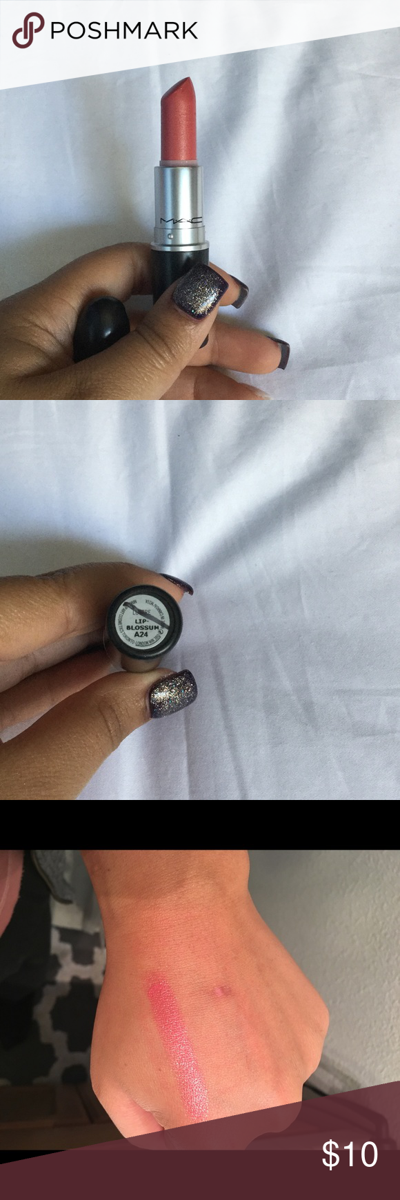 """MAC lipstick MAC lustre lipstick in """"lipblossum"""" used only once to make the color swatch on my hand. Cleaned and disinfected with MAC makeup wipes. Slash on the bottom means that it's final sale, not returnable to a MAC store. MAC Cosmetics Makeup Lipstick"""