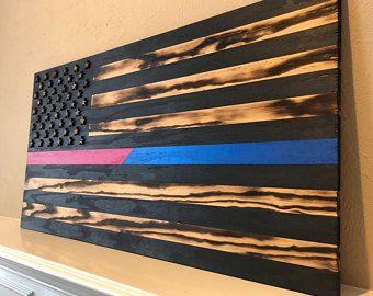 Thin Blue Line, American Flag, Wood Flag, Blue Lives Matter, Police, Back the Badge, Law Enforcement
