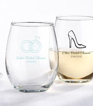 personalized 9 oz stemless bridal shower wine glasses kate aspen 30009na buy at