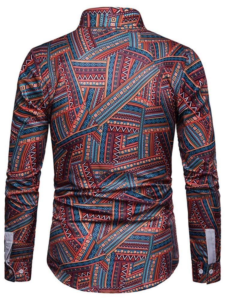 Fashion Printed Casual Lapel Long Sleeve Shirt for Men