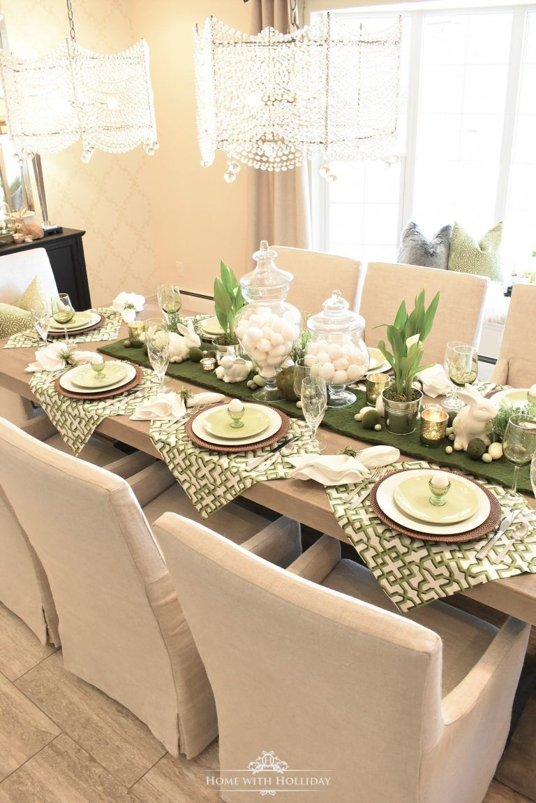 Green And White Easter Table Setting Home With Holliday Easter Dinner Table Easter Table Settings Dinner Table Setting