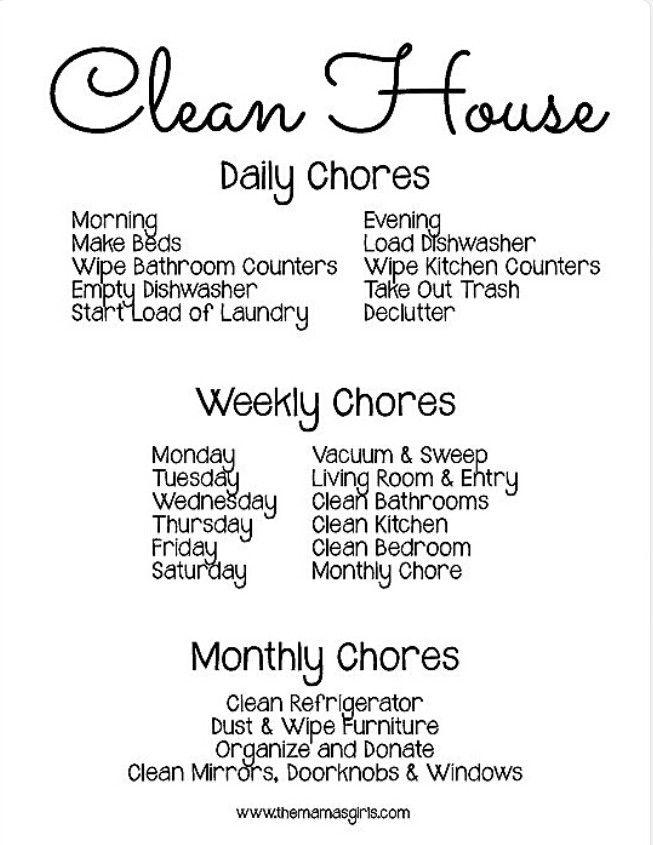 Pin by Cheryl Glass on Children Pinterest Organizing - housework schedule