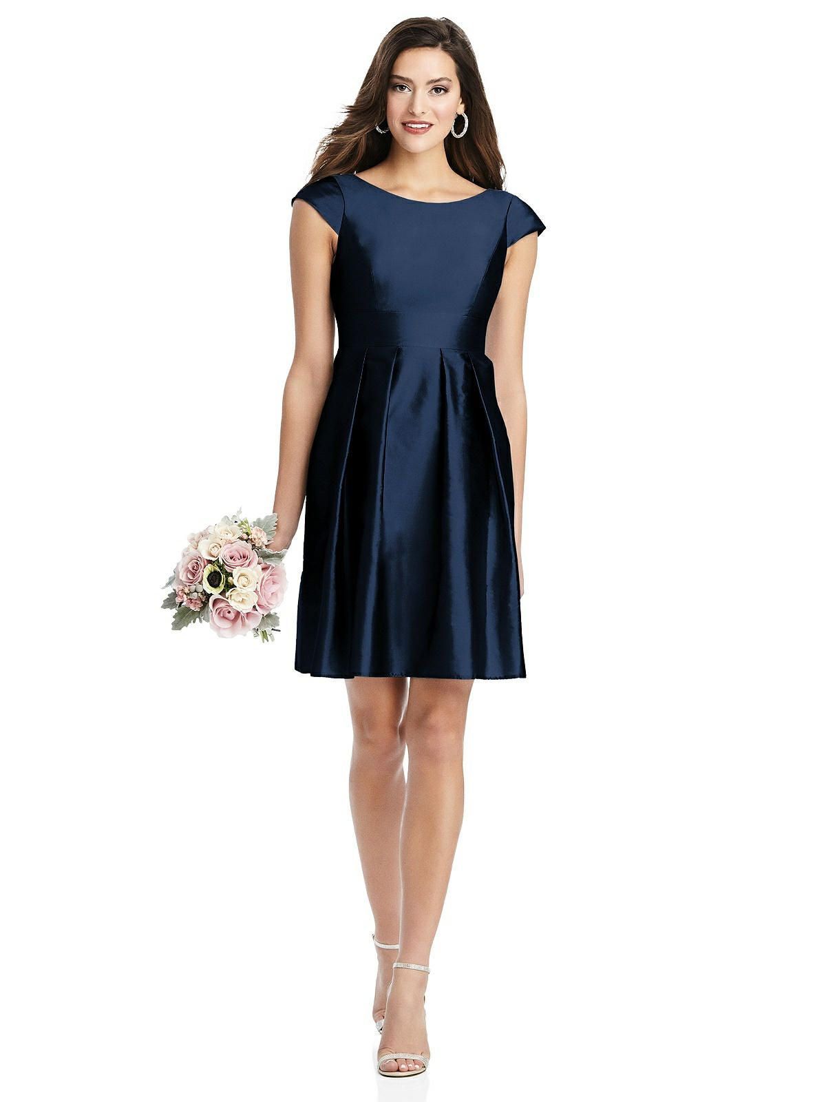 Cap Sleeve Pleated Skirt Cocktail Dress With Pockets In 2020 Cocktail Dress Dresses Pleated Skirt
