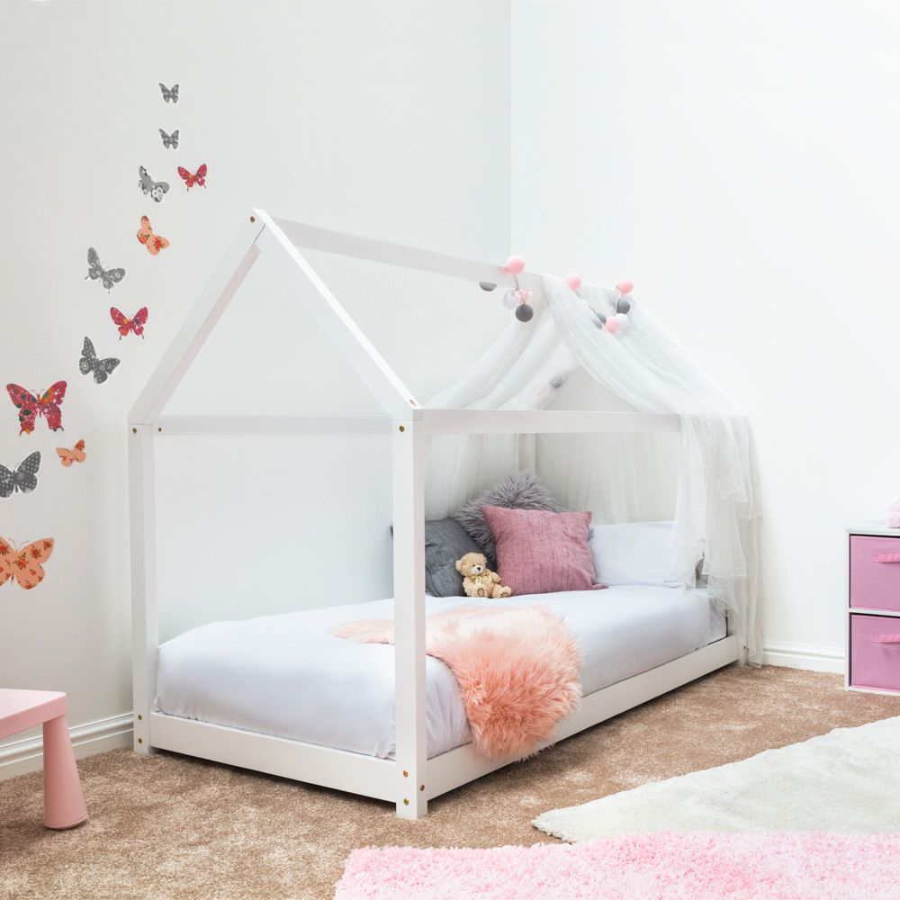 Kids Childrens Toddler Bed Treehouse Style White Wooden Frame Only 149 99 Fast Free Delivery To Uk Mainl Kids Bed Frames Single Bed Frame House Frame Bed