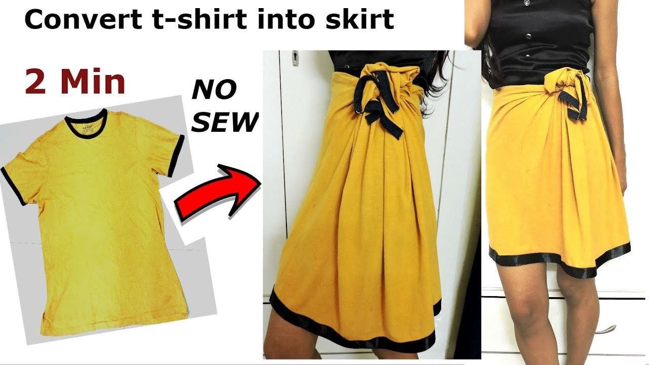 Diy Convert Reuse Revamp Old Men S T Shirt Into Girl S Skirt 2 Min Work No Sew Diy Skirt Diy Clothes Refashion Diy Clothes Life Hacks