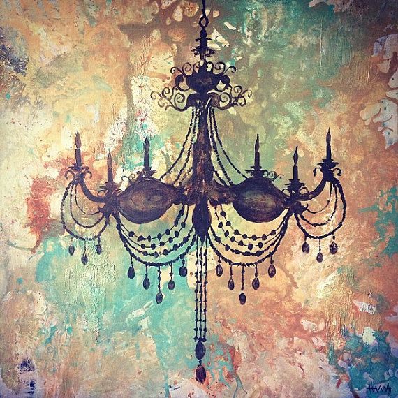 Painting home decor chandelier PRINT Be the Light 36x36 by on – Painting of Chandelier