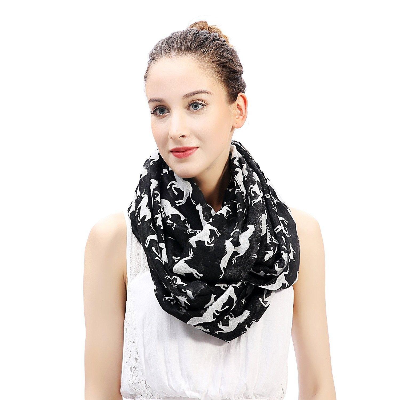 Horse print infinity loop scarf for women lightweight