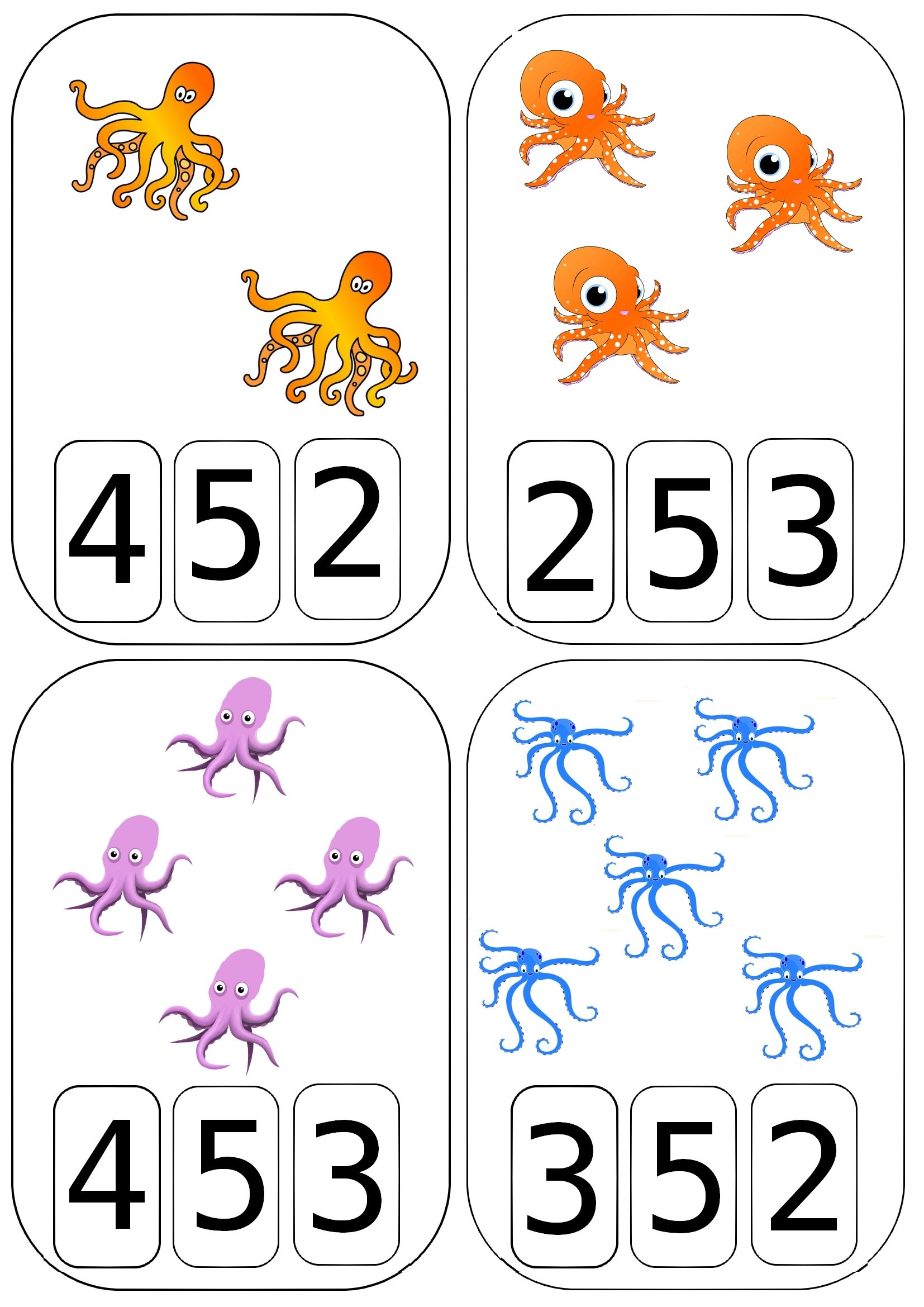 Cartes à compter pieuvresques | MATEMATIIKKA | Pinterest | Math for kids,Preschool ja Math numbers