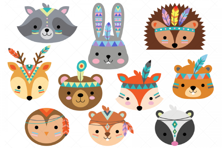 Tribal Animal Faces Clipart Woodland Animal Faces 382433 Illustrations Design Bundles In 2021 Tribal Animals Woodland Animals Animal Faces