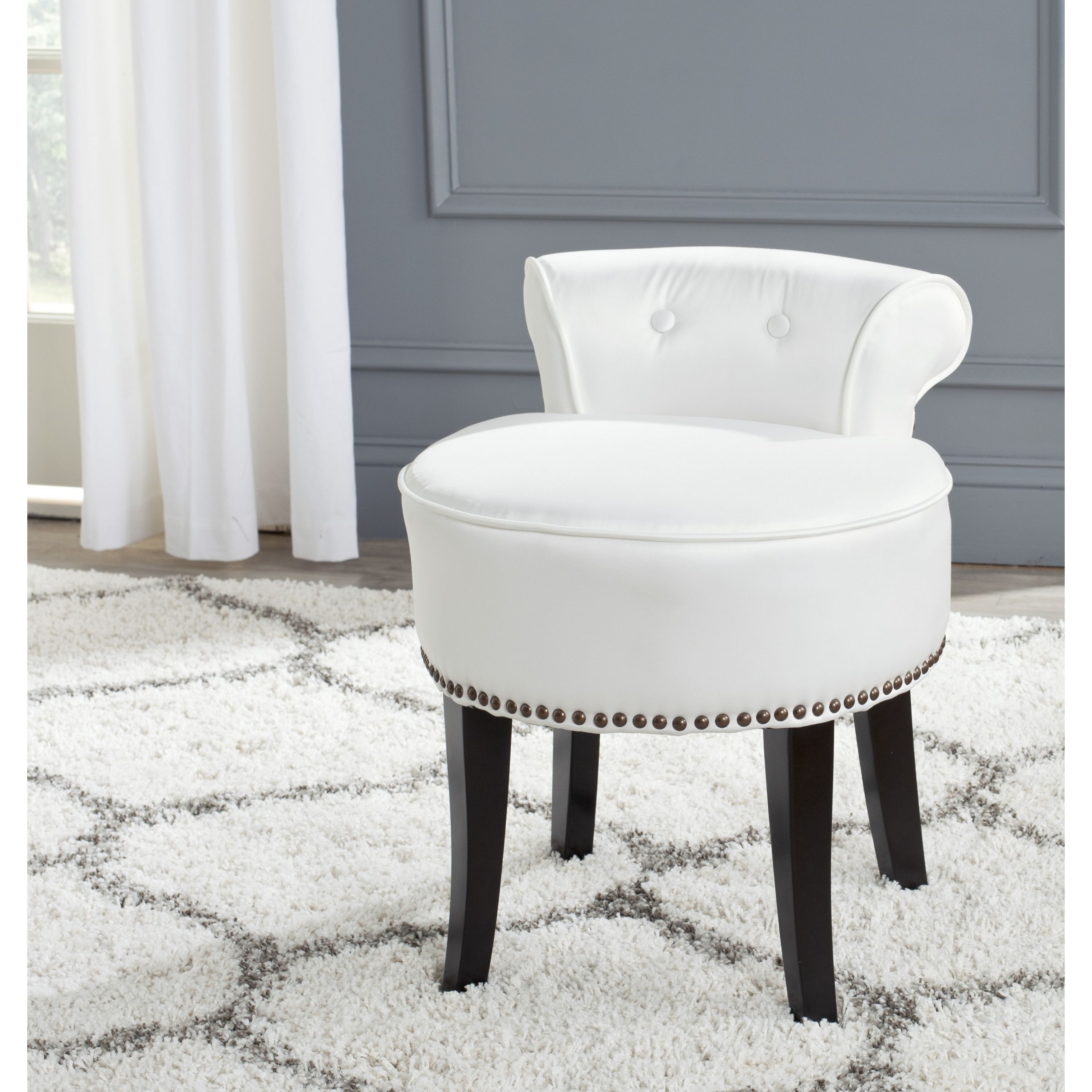 Glamorous Nailhead Vanity Chair Photos - Best image 3D home ...