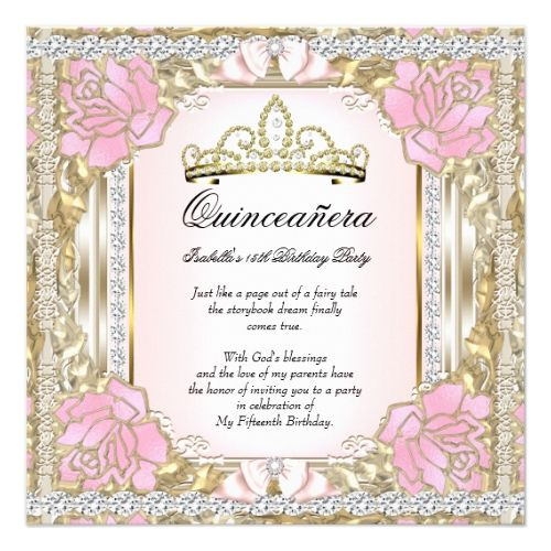 Princess Quinceanera Pink Gold 15th Birthday 2 Card 15th birthday