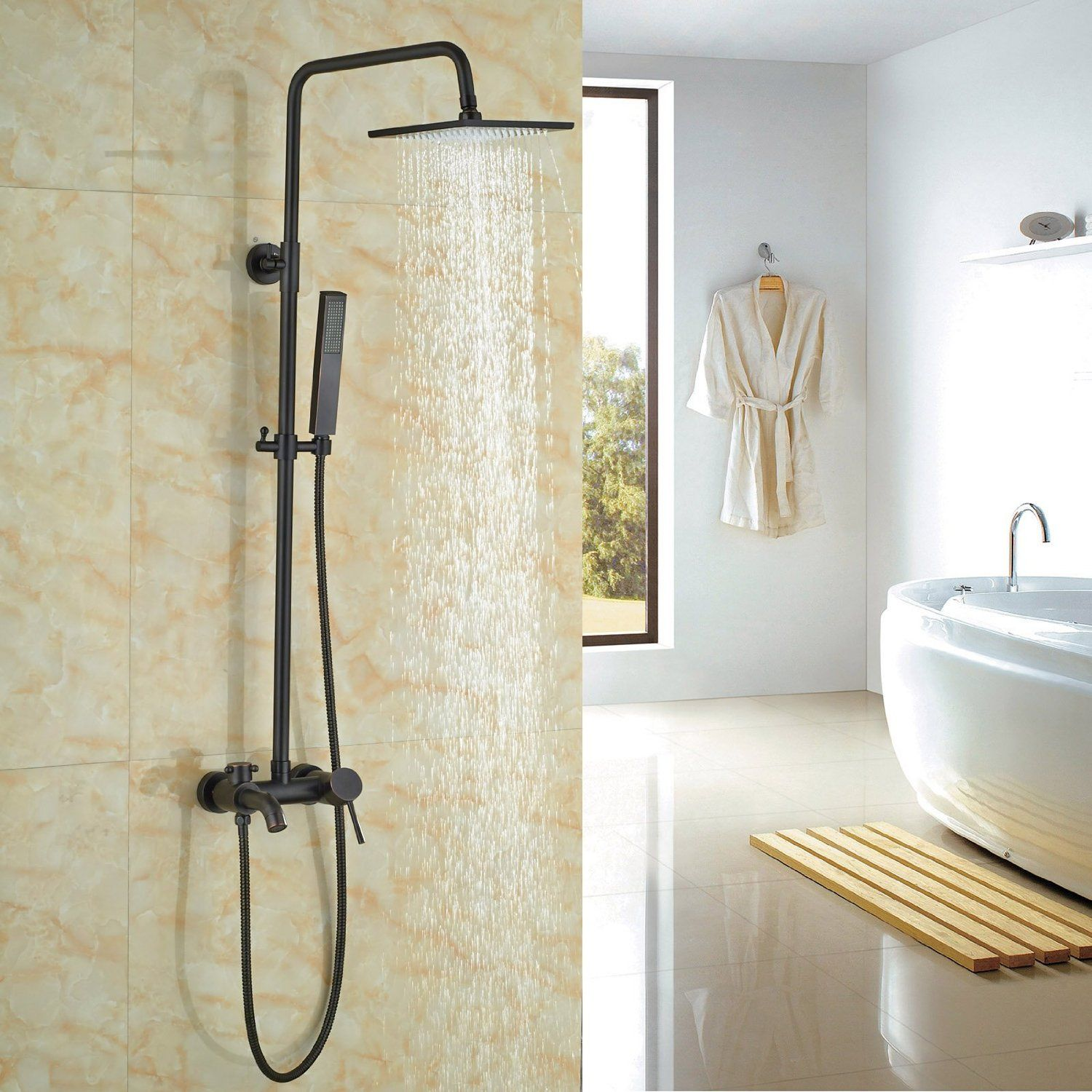 Rozin® Wall Mount Rainfall Shower Set Tub Mixer Tap with Hand Spray ...