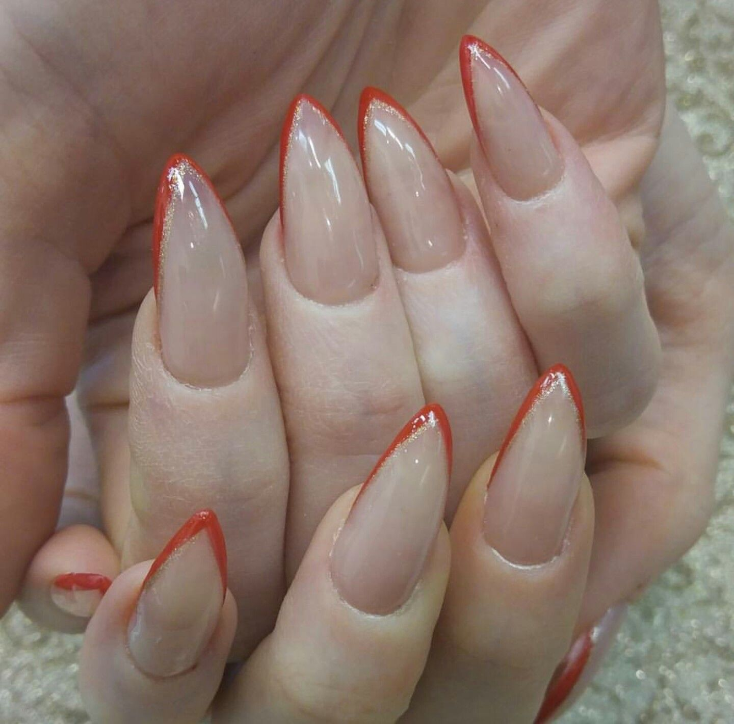 Nail art nude orange tip extravagant design | Nails | Pinterest ...