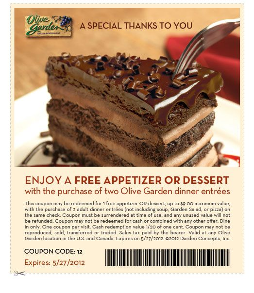 free app or dessert at olive garden w purchase of 2 entrees
