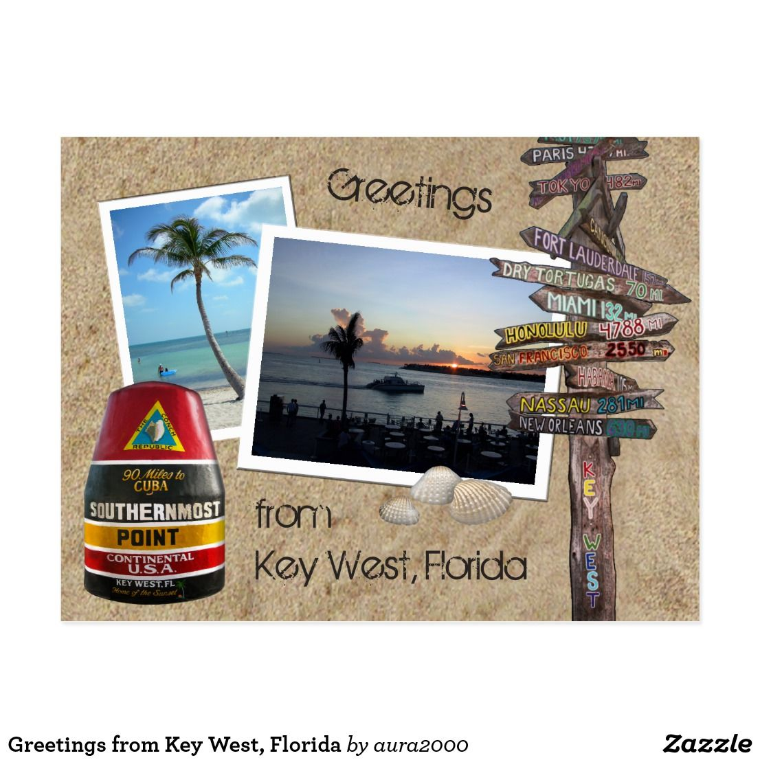 Greetings From Key West Florida Postcard Key West Florida And