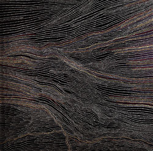 Dorothy Napangardi;  Sandhills of Mina Mina;  2002; synthetic polymer paint on linen;  152cmx152cm;