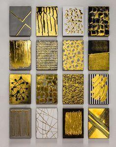 Gold foil grid by fine artist M. Clark. #gold #goldartwork #artwork #mixedmedia #modernart #contemporaryart #wallart #grid