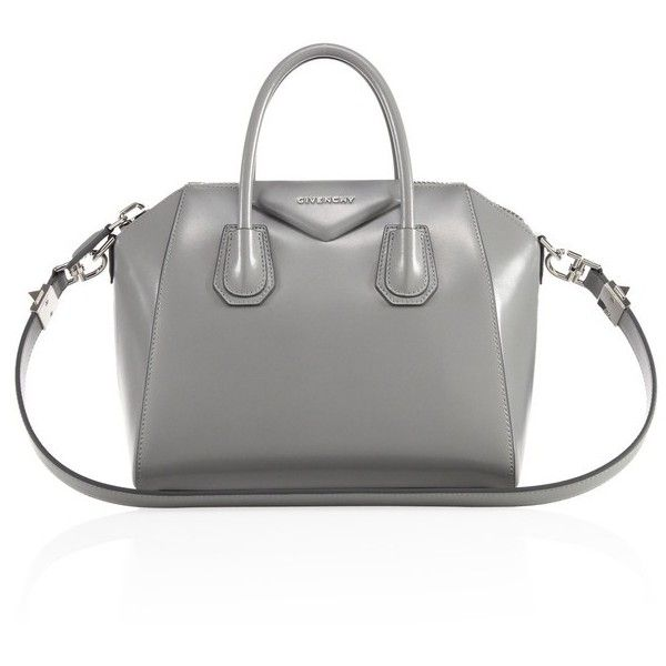 Givenchy Antigona Small Glazed Leather Satchel (34.680 ARS) ❤ liked on Polyvore featuring bags, handbags, pearl grey, satchels, structured handbags, structured purse, satchel handbags, gray purse and top handle handbags